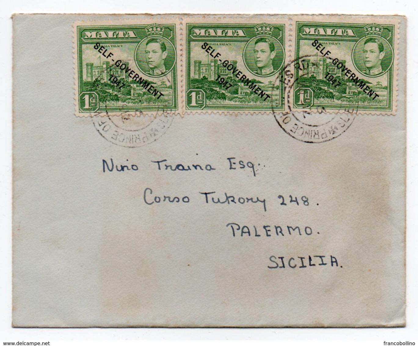 MALTA - COVER TO ITALY - 1950 / GEORGE VI STAMPS OVERPRINT SELF-GOVERNMENT 1947 - Malta