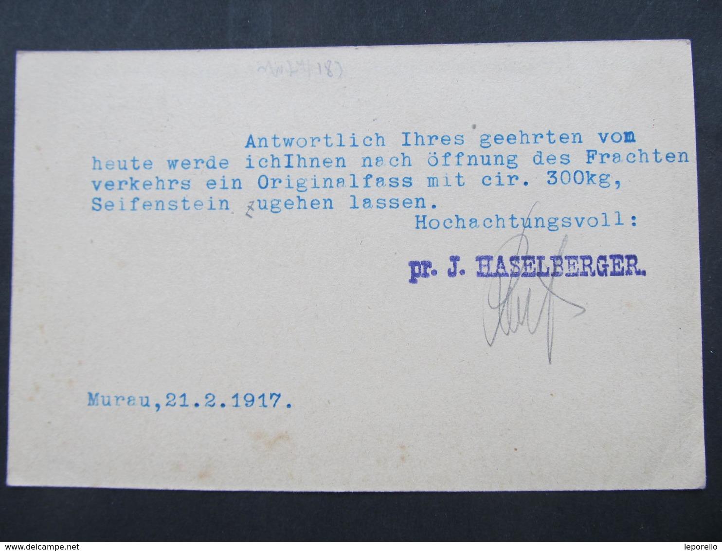 GANZSACHE Murau - Weisskirchen 1917 Haselberger  Korrespondenzkarte  /// D*31655 - 1850-1918 Imperium