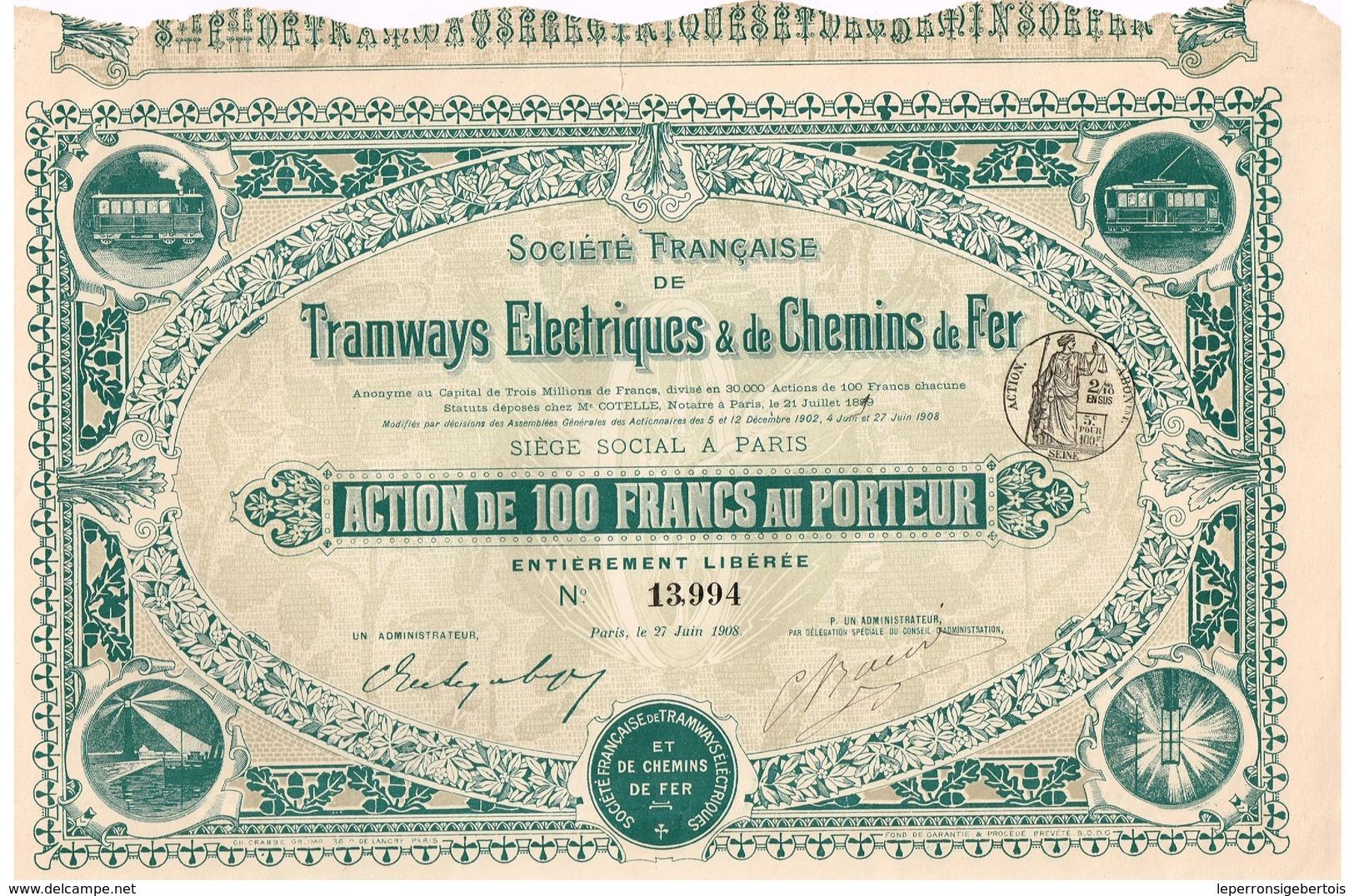 Action Ancienne - Société Française De Tramways Electriques & De Chemins De Fer -Titre De 1908 - N° 13994 - Chemin De Fer & Tramway