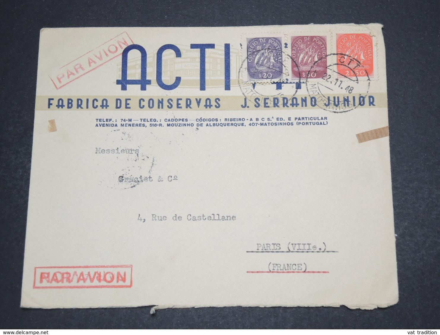 PORTUGAL - Enveloppe Commerciale De Matosinhos Pour Paris En 1948 , Affranchissement Tricolore - L 16280 - 1910-... République