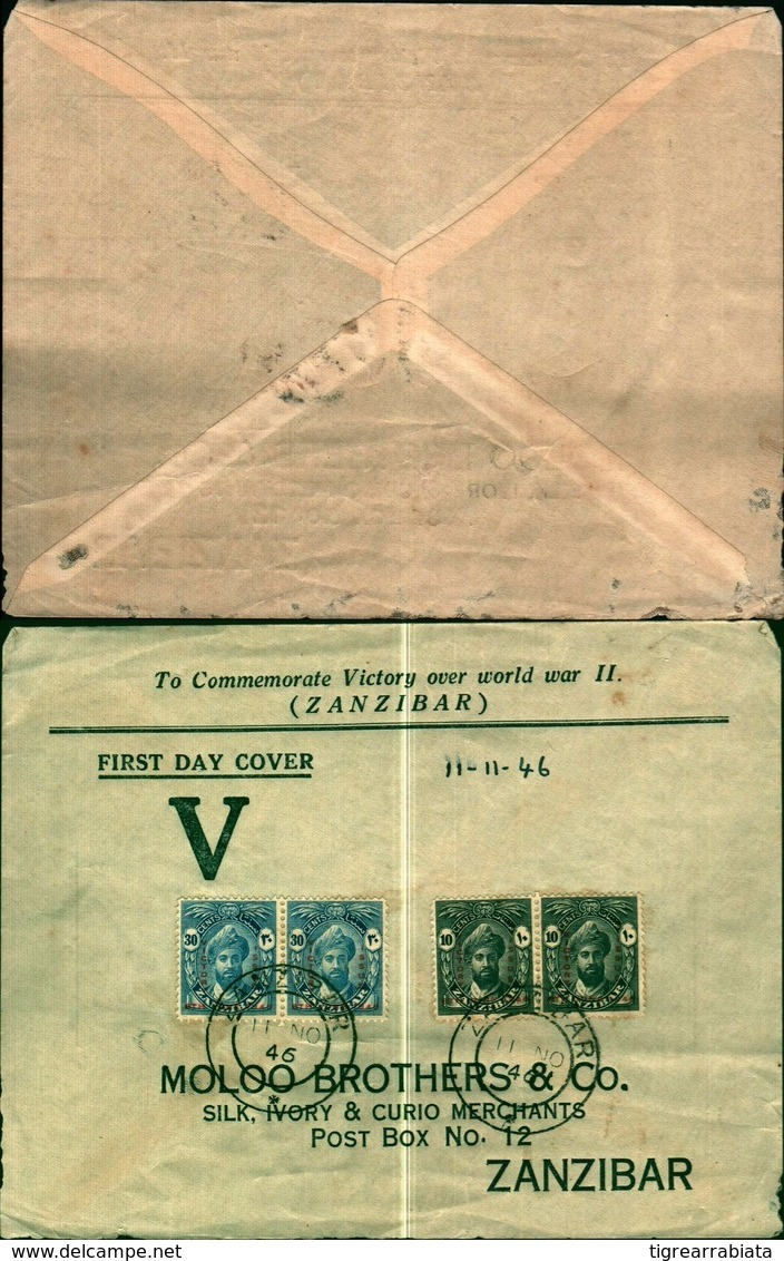 8814a)cartolina P Con 4 Valori Moloo Brothers E Co - Zanzibar (...-1963)
