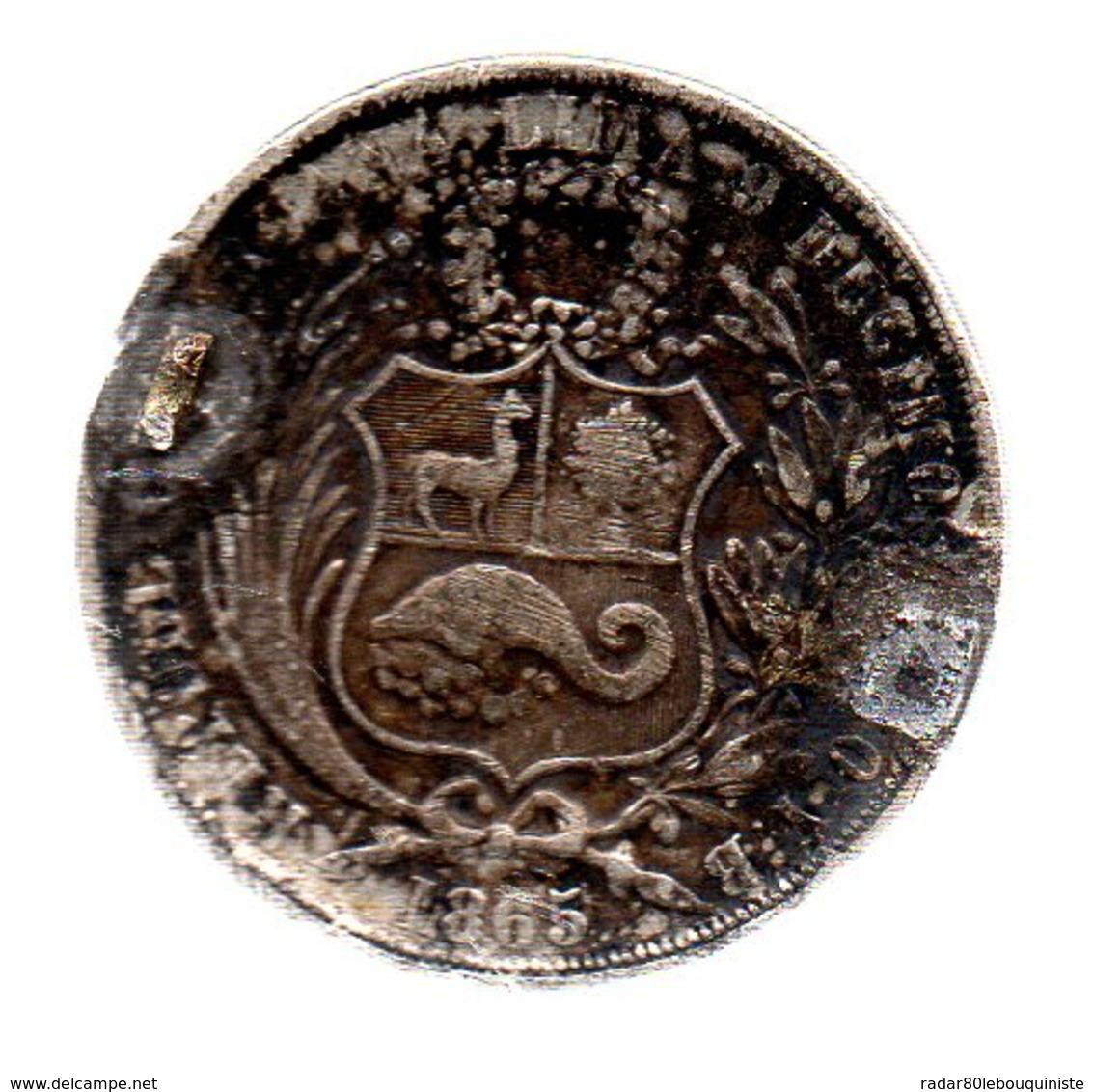 """Pérou.1 Sol """"liberté""""assise.1865.Lima.(trace De Monture  ) - Perú"""