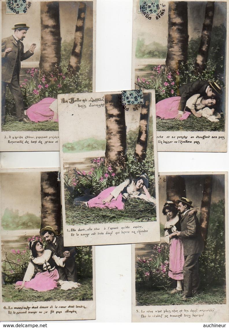12) Série 5 Cpa Couple, La Belle Au Bois Dormant - Coppie