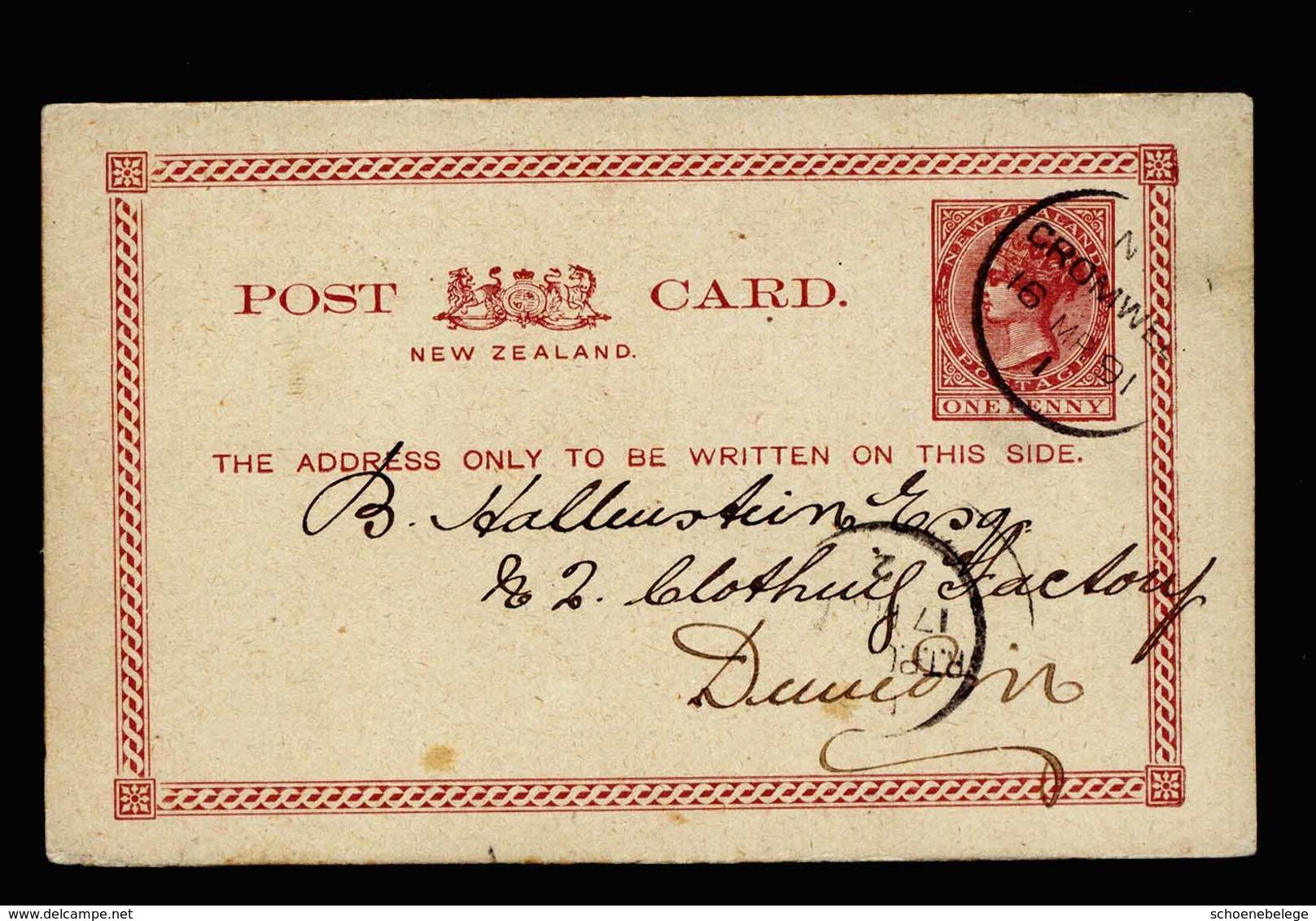 A5438) New Zealand Karte Cromwell 16.03.1891 To Dunedin - Briefe U. Dokumente