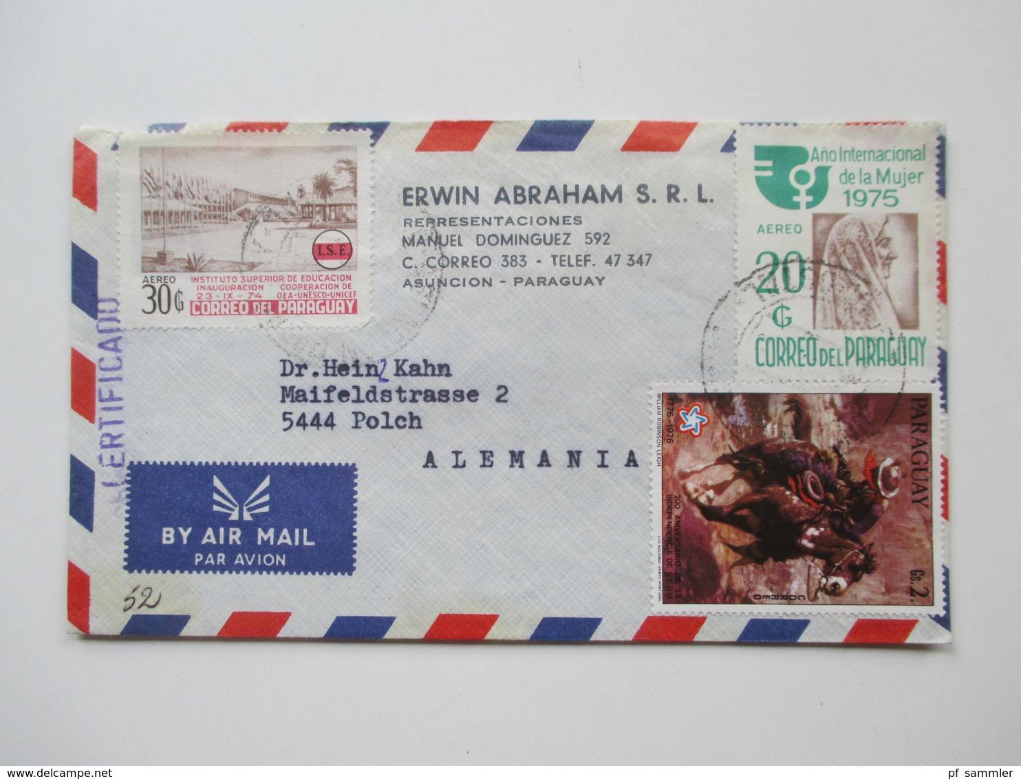Paraguay Ca. 1972 - 82 Korrespondenz 25 Luftpost Briefe. Einige Mit Inhalt! Certificado. Erwin Abraham S.R.L. - Paraguay