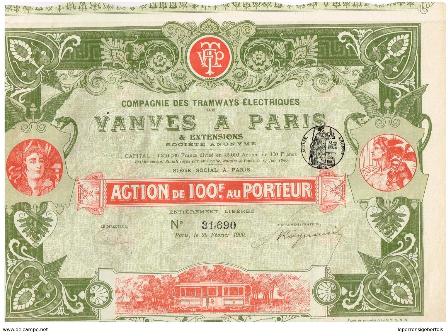 Action Ancienne - Compagnie Des Tramways Electriques De Vanves à Paris - Titre De 1900 - Chemin De Fer & Tramway