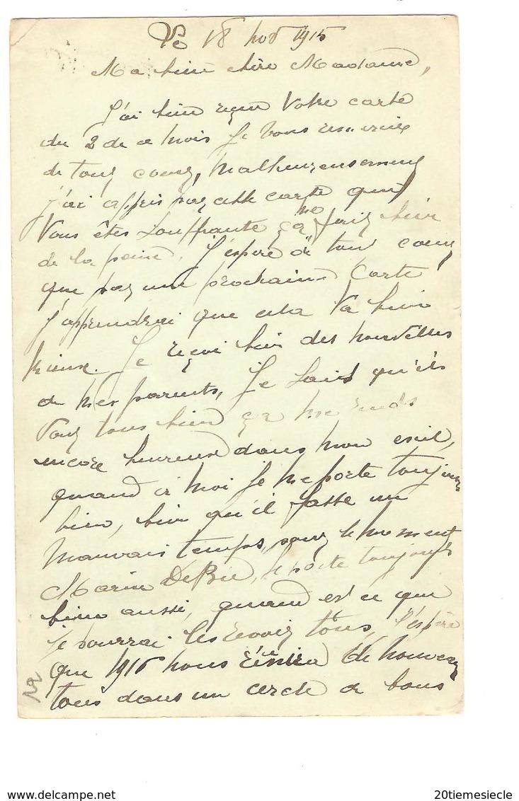 TP 138 S/CP C.PMB-BLP 20/11/1915 Censure Militaire écrite Par Verpoorten III 13 On A82 V.Haarlem AP2013 - Army: Belgium
