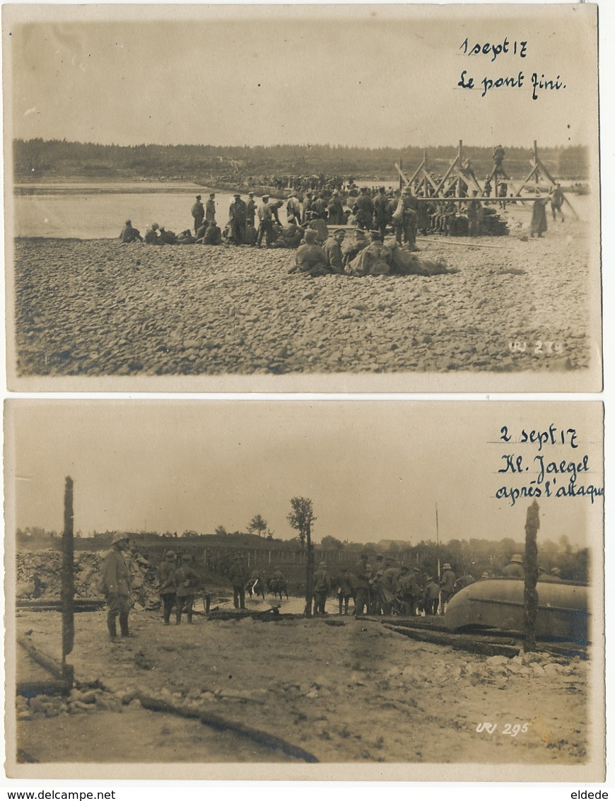 5 Real Photo WWI Russian Prisoners Building A Bridge On The Duna Kl. Jaegel German Troops Sept 1917 - Lettonie