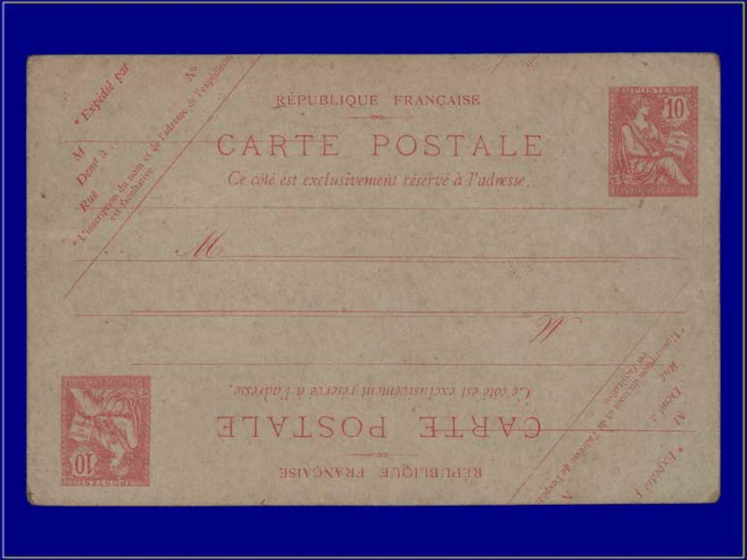 Qualité: N – 124, Cp 1, Carte Postale 10c. Mouchon, Double Impression Tête-bêche. - Postal Stamped Stationery