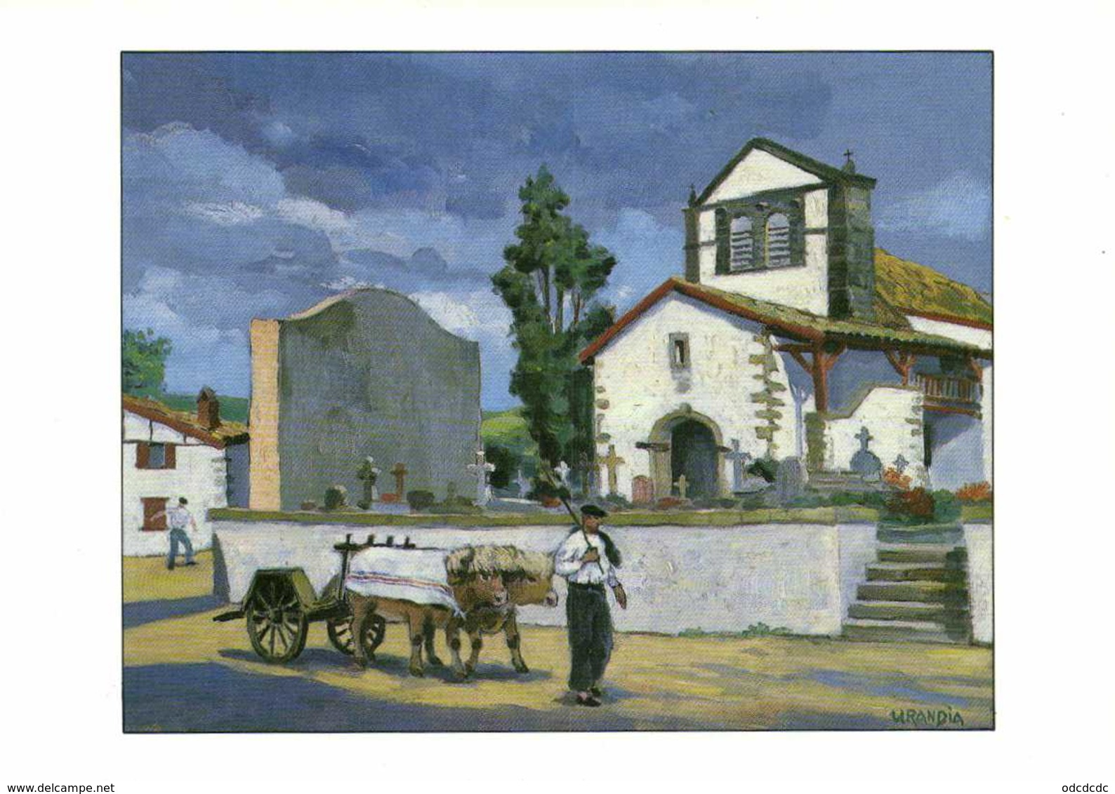 URANDIA  Scène Village ,environs De Saint Palais Huile Sur Toile 1994 RV - France