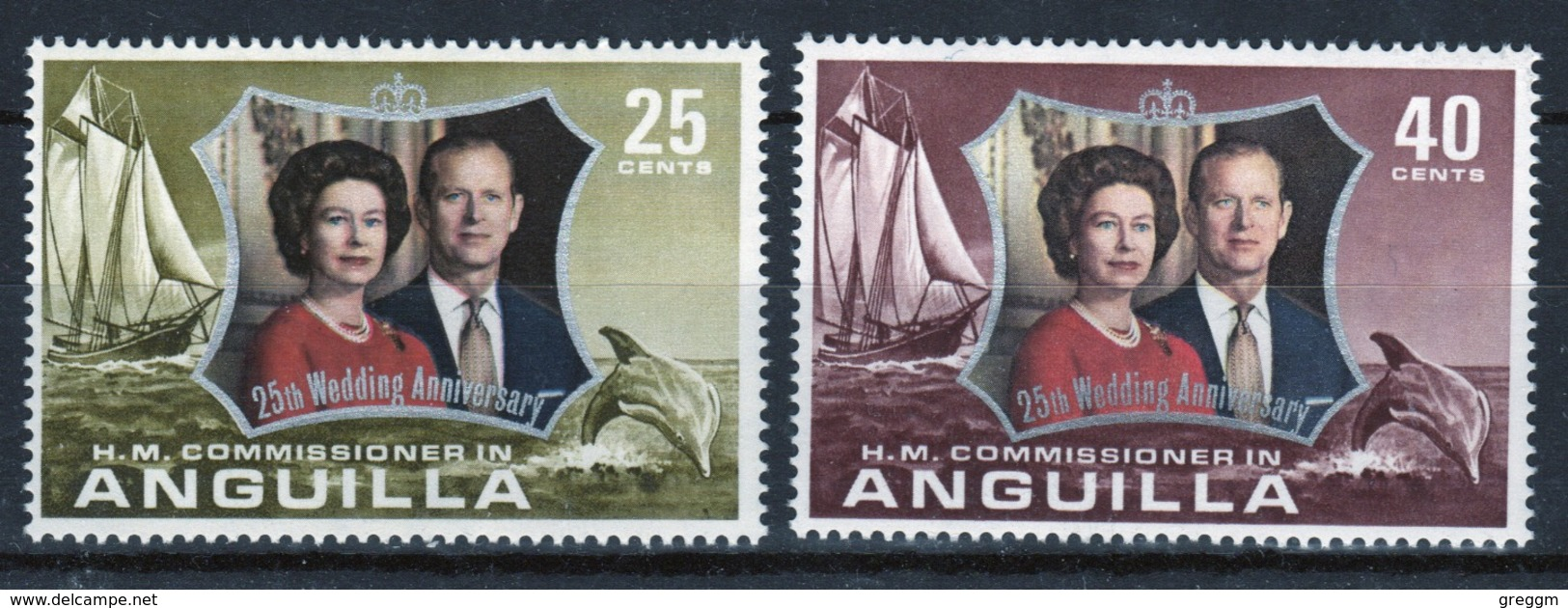 Anguilla Set Of Stamps To Celebrate 25th Wedding Anniversary. - Anguilla (1968-...)