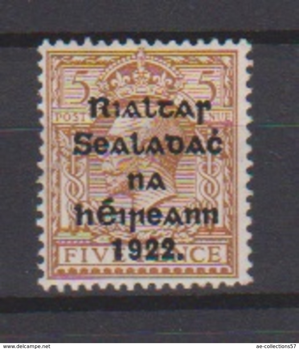 Irlande / N 8b  / 5 P Brun Jaune / NEUF Avec Trace De Charnière - 1922-37 Irish Free State