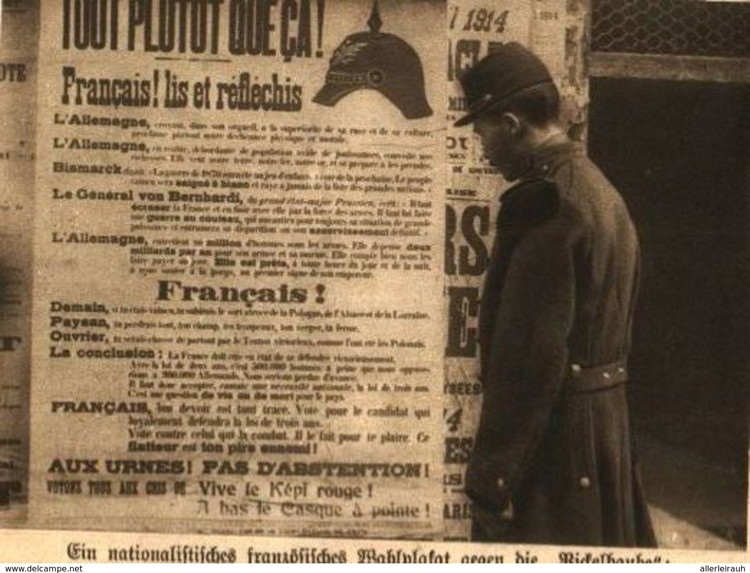 """Ein Nationalistisches Französisches Wahlplakat Gegen Die """"Pickelhaube""""   / Druck, Entnommen Aus Zeitschrift / 1914 - Livres, BD, Revues"""