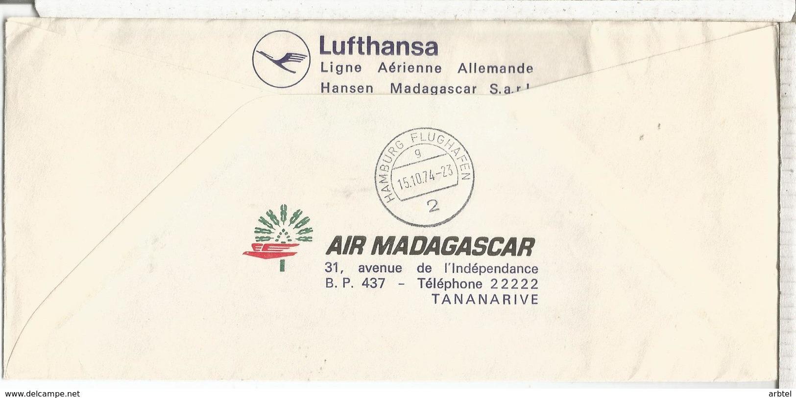 MADAGASCAR NACIONES UNIDAS UNITED NATIONS LUFTHANSA TANNARIVE NAIROBI FRANKFURT HAMBURG - Madagascar (1960-...)