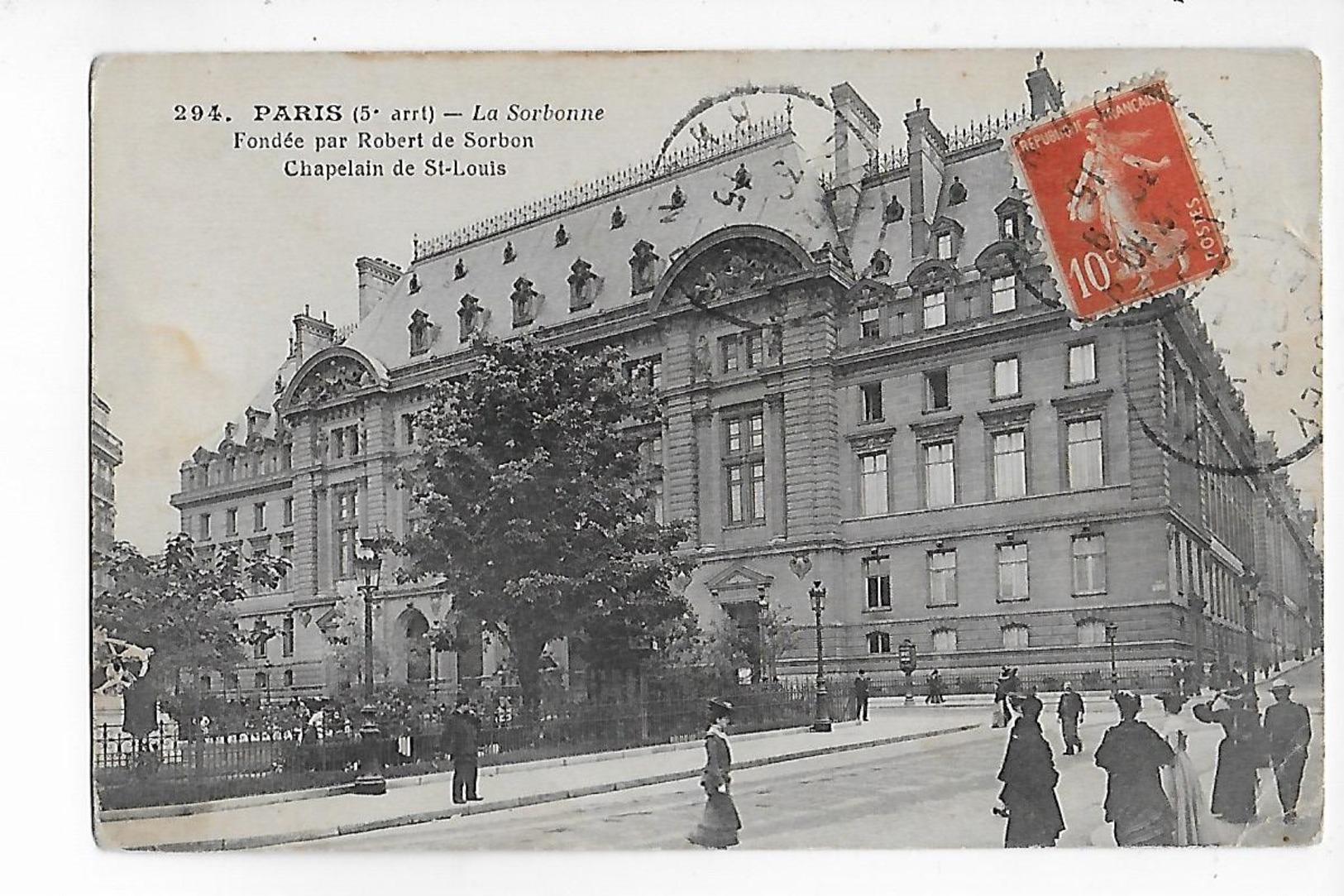 75  -  CPA  De  PARIS  ( 5 ° Arron )   -  La  Sorbonne  , Fondée Par Robert De Sorbon , Chapelain De St Louis - Arrondissement: 05