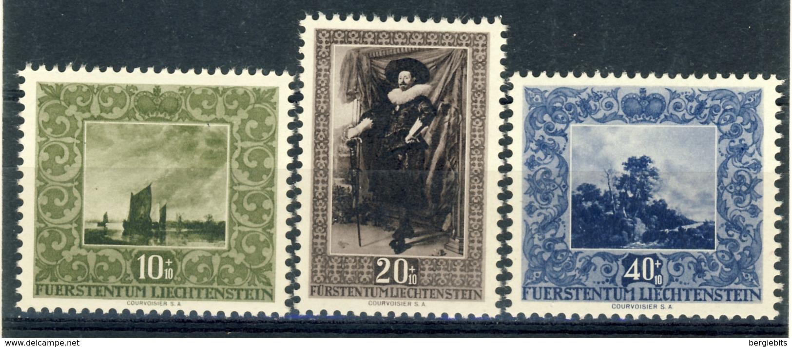 """1951 Liechtenstein Complete MNH OG Set Of 3 Lovely Stamps """"Paintings"""" Mi. 301-303 - Liechtenstein"""