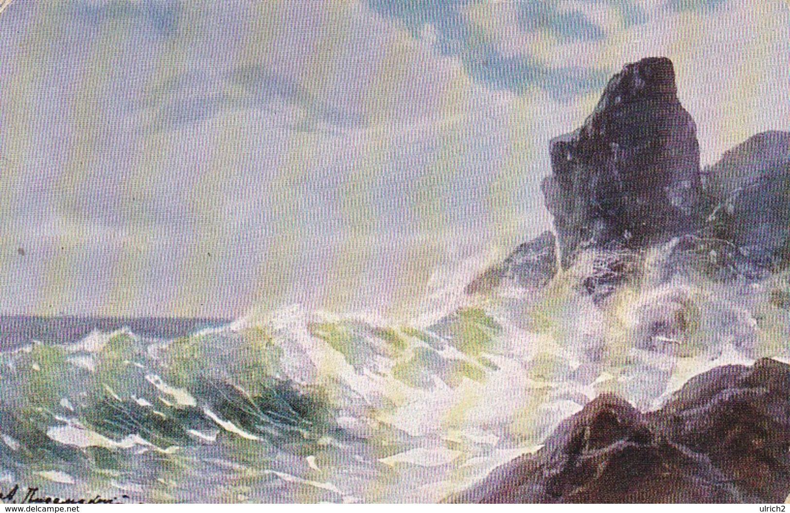 AK Moderne Russ. Meister - A. Pisemsky - Stürmische Brandung - Marine Schiffspost Nr. 24 SMS Oldenburg - 1916 (34441) - Paintings