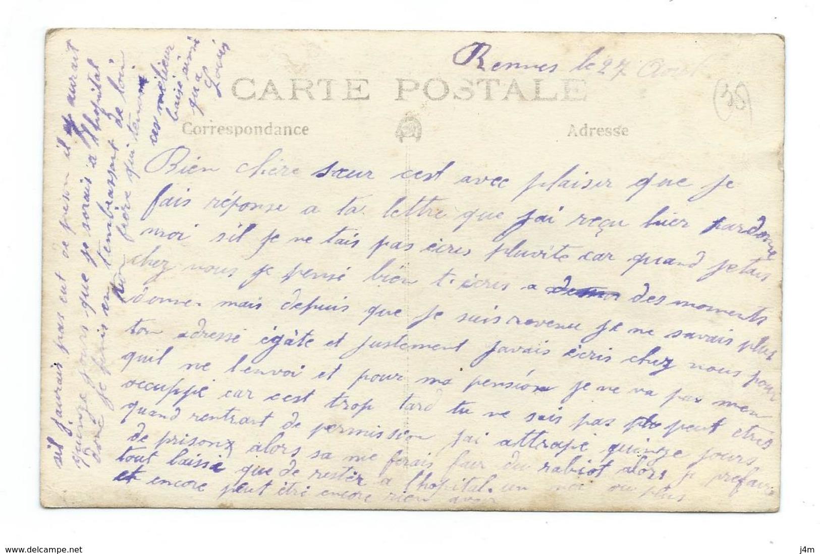 35/ ILLE Et VILAINE... Carte Postale Photo De RENNES Militaires à La Cuisine.. 2 Scans - Rennes