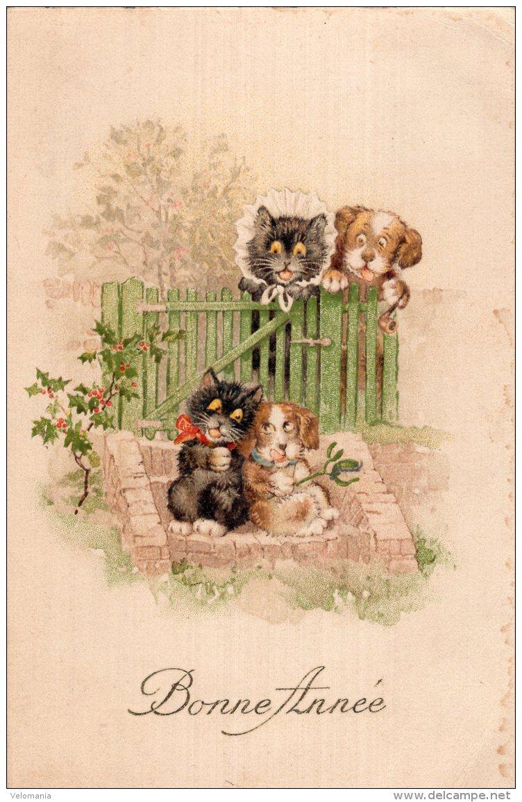 V13321  Cpa Illustrée Chat - Chats, Bonne Année - Gatti
