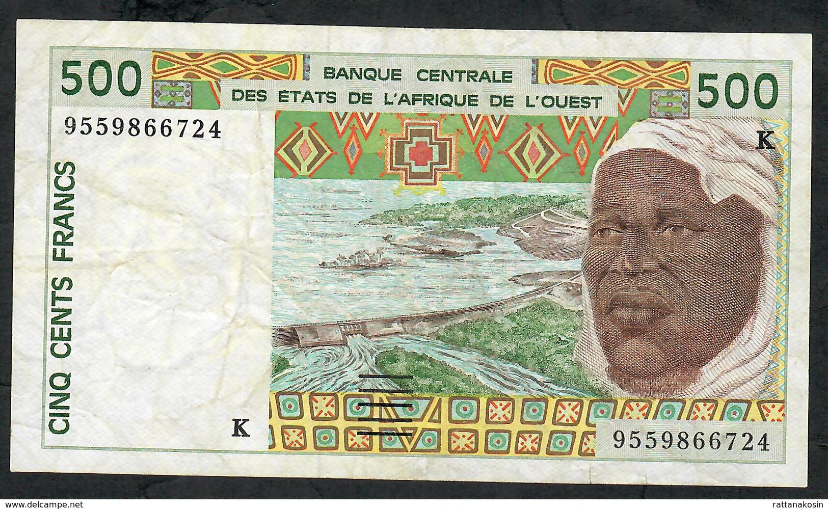 W.A.S. IVORY COAST P710Ke 500 FRANCS (19)95  VF NO P.h. - Sénégal