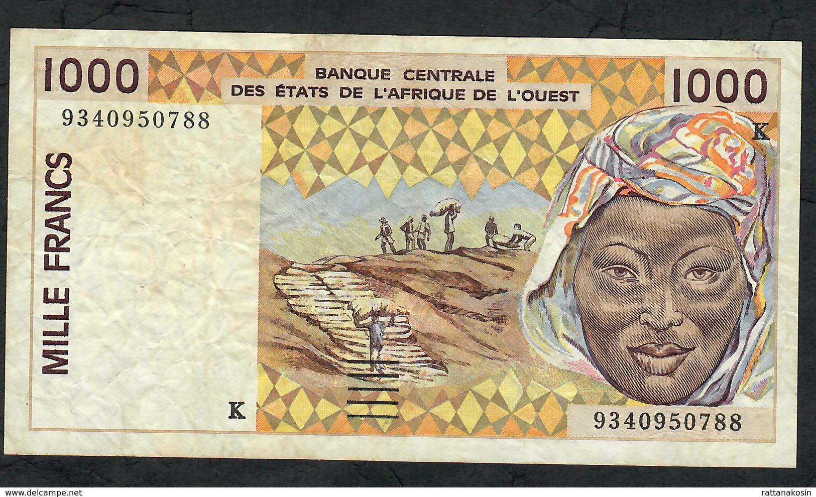 W.A.S. IVORY COAST P711Ke 1000 FRANCS (19)93  VF NO P.h. - Sénégal