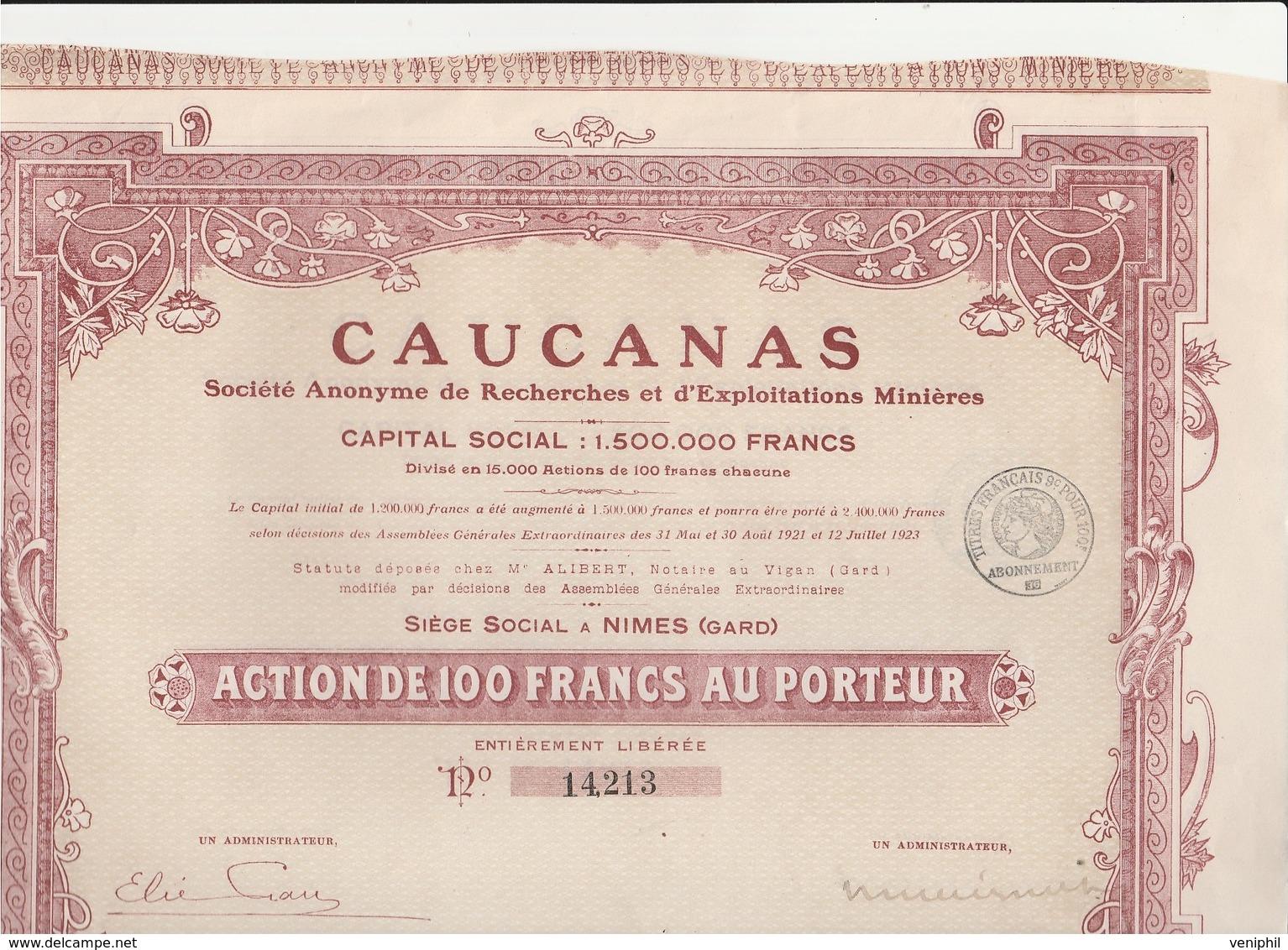 ACTION DE 100 FRS - CAUCANAS - RECHERCHES D'EXPLOITATION MINIERE  -NIMES - 1923 - Afrique