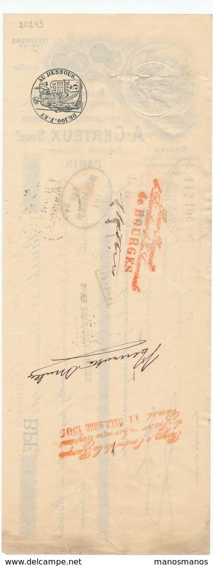 243/20 - FRANCE Mandat Illustré Médailles Expositions PARIS 1909 - Rizerie Certeux - TP Fiscal 5 C. - Other International Fairs