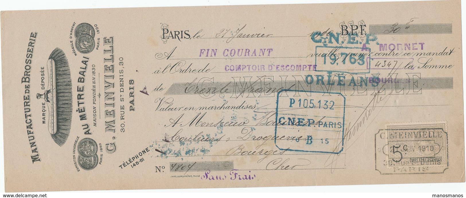 247/20 - FRANCE Mandat Illustré Médailles Expositions PARIS 1910 - Brosserie, Balais Mainvielle - TP Fiscal 5 C. - Universal Expositions