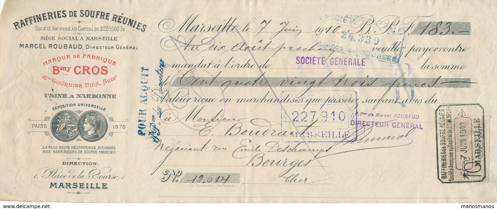 250/20 - FRANCE Mandat Illustré Médailles Expositions MARSEILLE 1910 - Raffineries De Soufre - TP Fiscal 10 C. - Other International Fairs