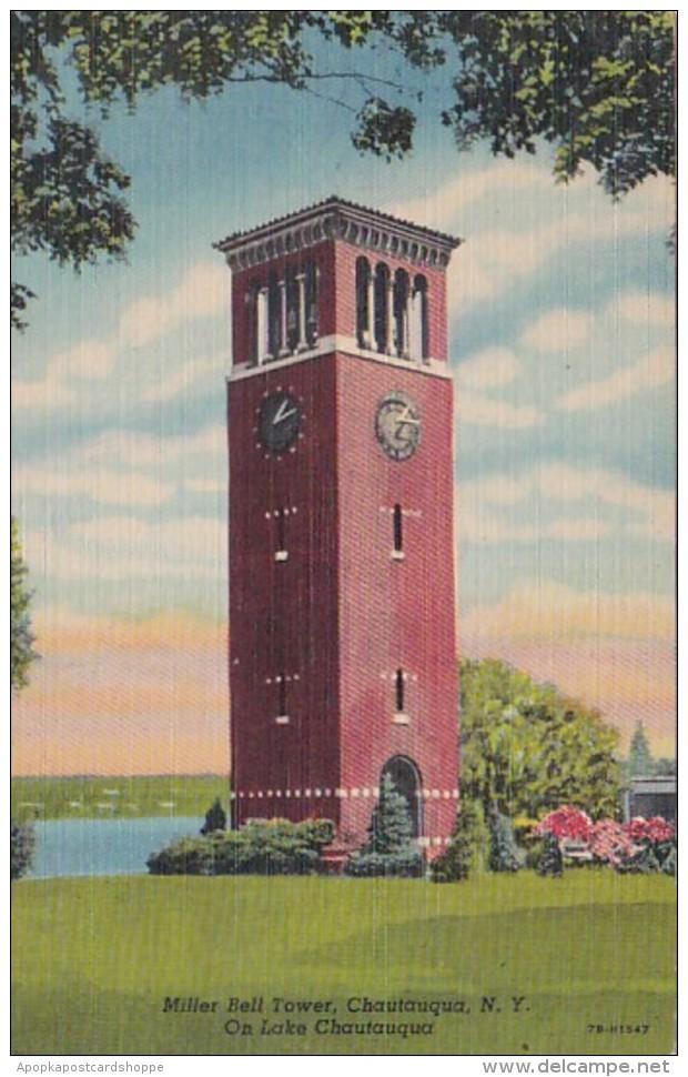 New York Chautauqua Miller Bell Tower On Chautauqua Lake 1954 Cu
