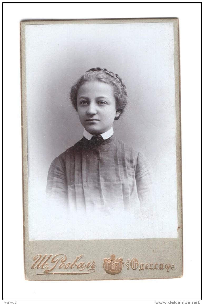 02839 CDV Imperial Russia Odessa Jewish Girl Sarah Kogan Photographer Rozvala - Anonymous Persons
