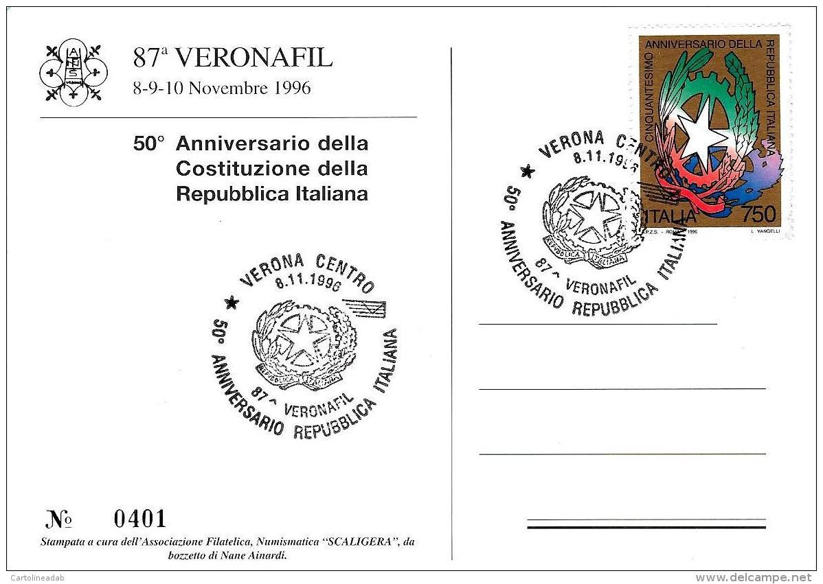 [MD1579] CPM - 87° VERONAFIL VERONA 1996 - 50° ANNIVERSARIO DELLA COSTITUZIONE - NUMERATA N°401 - CON ANNULLO 8.11.1996  - Esposizioni