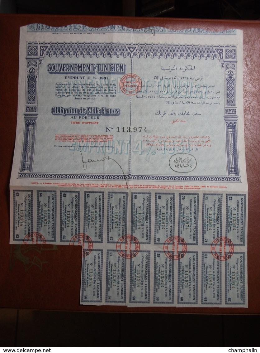 Actions - Tunisie - Gouvernement Tunisien - Emprunt 4% 1931 - 6 Octobre 1949 - Action Au Porteur - Obligation - Afrique