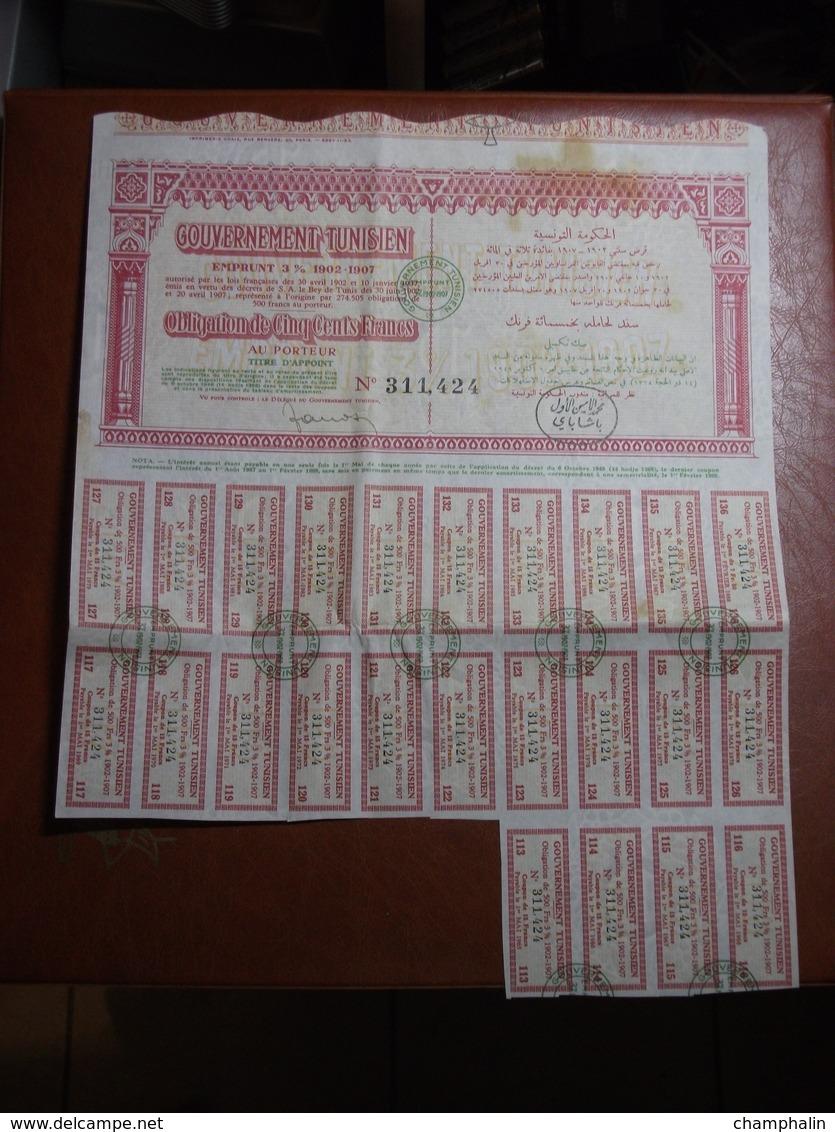 Actions - Tunisie - Gouvernement Tunisien - Emprunt 3% 1902/1907 - 6 Octobre 1949 - Action Au Porteur - Obligation - Afrique