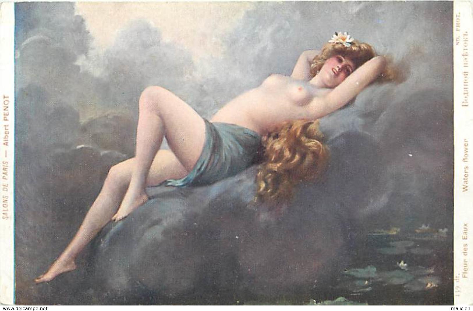 - Thèmes -ref-W979- Arts - Tableaux - Tableau - Peintre Penot- Fleur Des Eaux -waters Flower- Nu - Nus - Nude - Nudes - - Peintures & Tableaux
