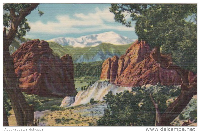 Colorado Pikes Peak and Gateway Of The Garden Of The Gods 1955 C