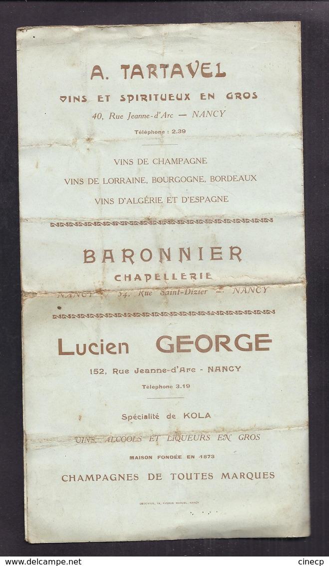 NANCY PROGRAMME PUBLICITAIRE 1912 CERCLE DES MERIDIONAUX ET BOULE MERIDIONALE PETANQUE + MENU CHAMPAGNE VENOGE - Pétanque