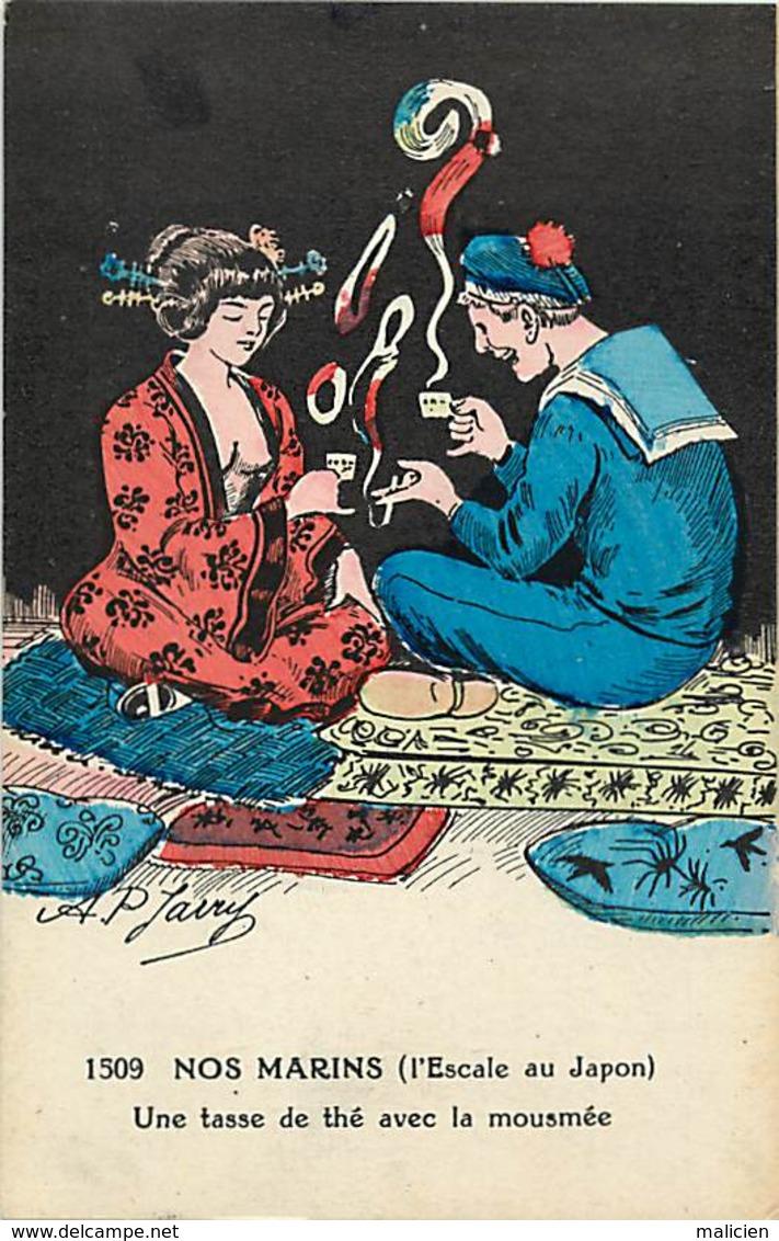 - Thèmes -ref-W886- Illustrateurs - Illustrateur Jarry - Nos Marins - Escale Du Japon - Le Thé .. - Marine Militaire - - Illustrateurs & Photographes