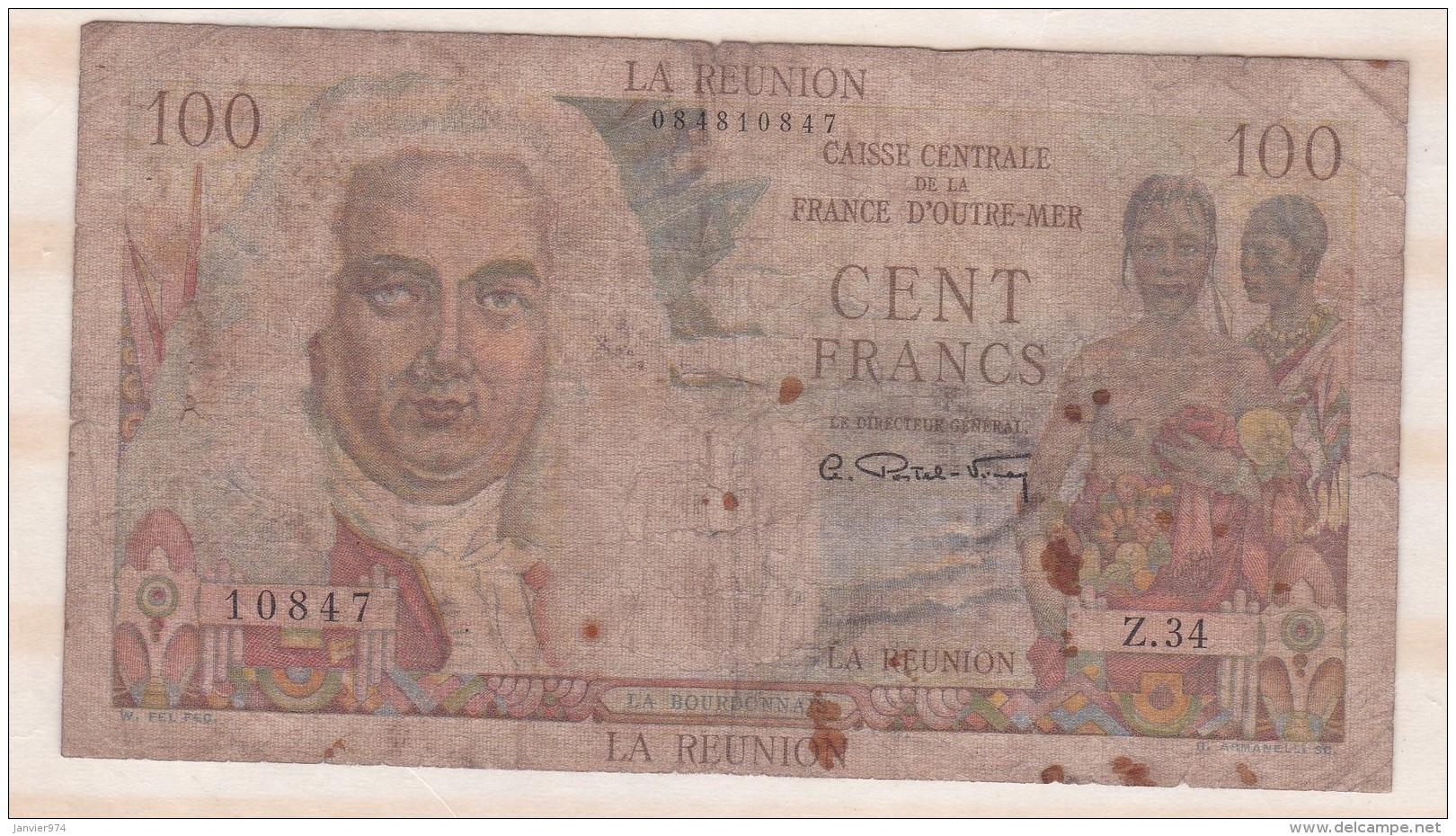 REUNION  100 Francs Type 1946 LA BOURDONNAIS, Alphabet Z.34 ,n° 10847 - Réunion
