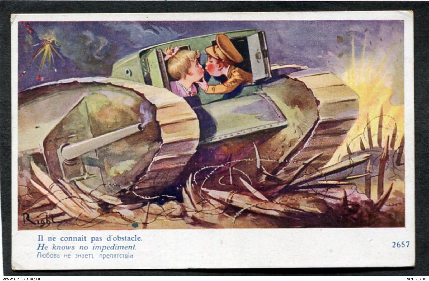 CPA - Illustration Right - Il Ne Connait Pas D'obstacle - Guerre 1914-18