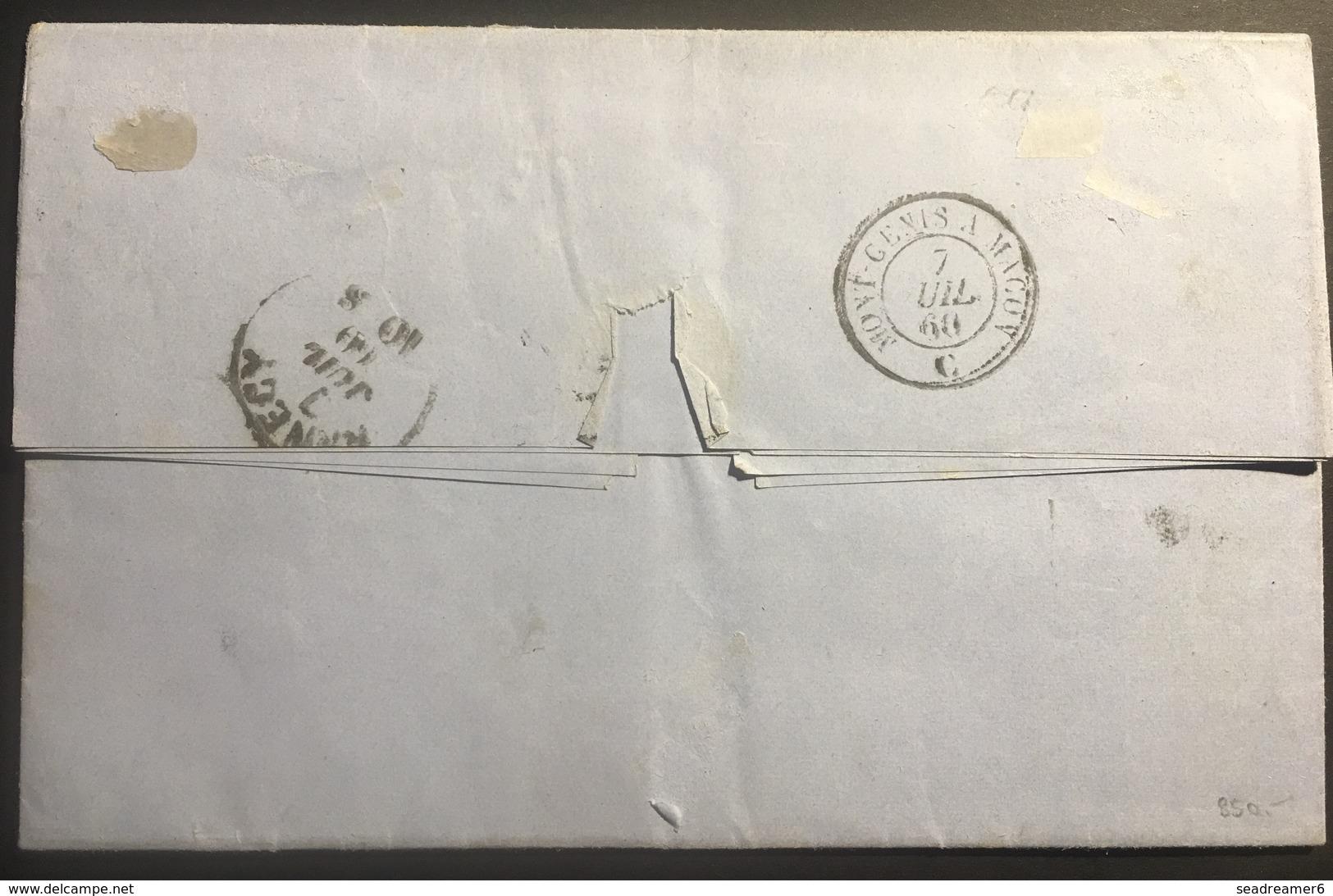 Napoléon III N°14 20c Bleu Sur Lettre De Chambéry Oblitéré Grille Sarde Signé Alberto Diena - 1853-1860 Napoleon III