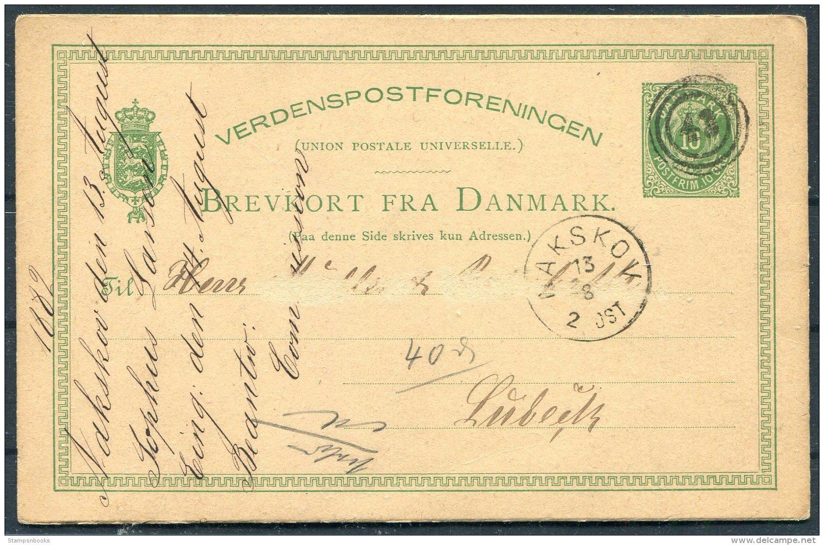 1882 Denmark 10 Ore Stationery Postcard Nakskov - Lubeck, Germany . 43 Numeral - 1864-04 (Christian IX)