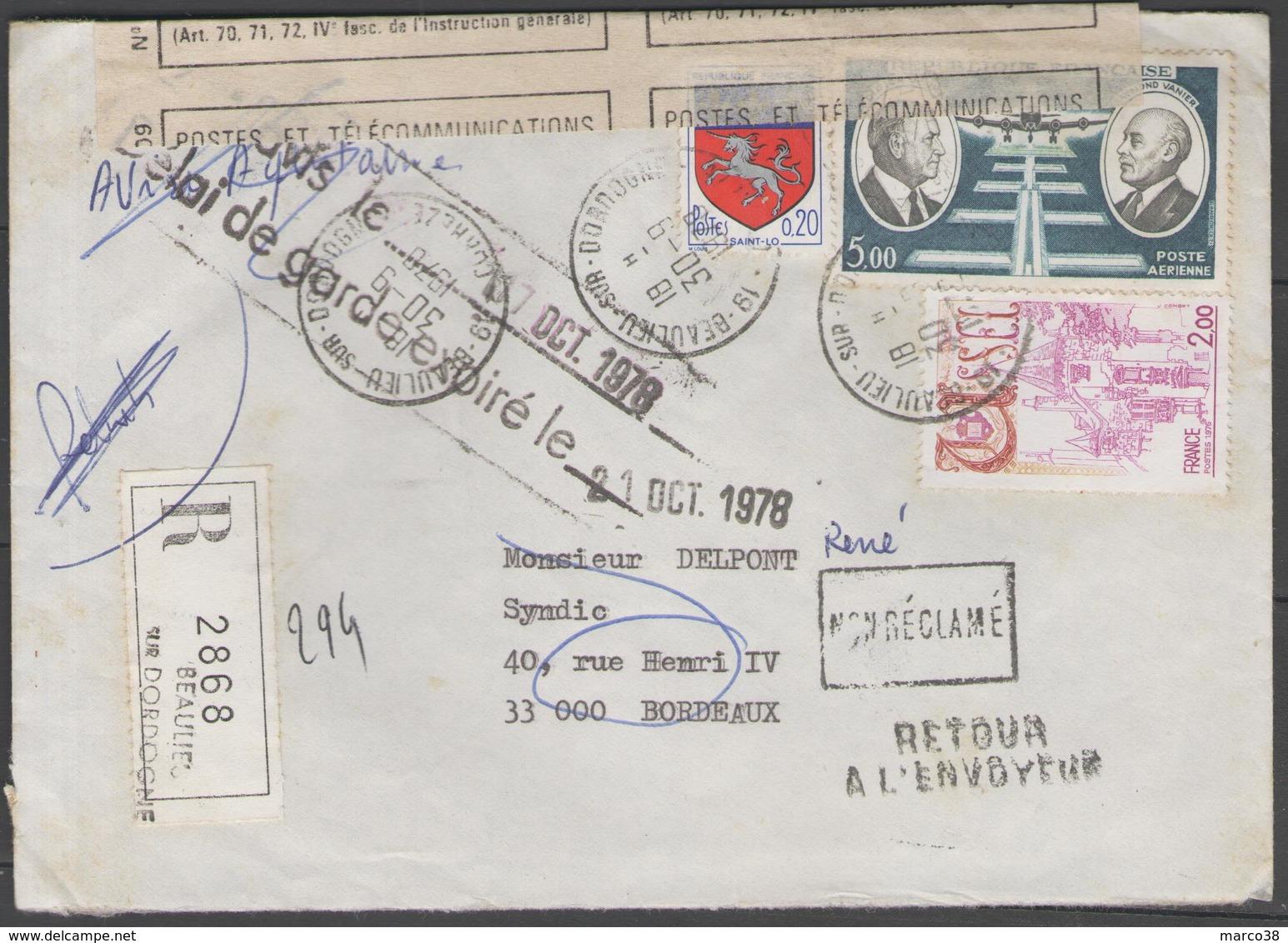REC. De 1978 Tombé En Rebut (cachet Au Verso) - Postmark Collection (Covers)