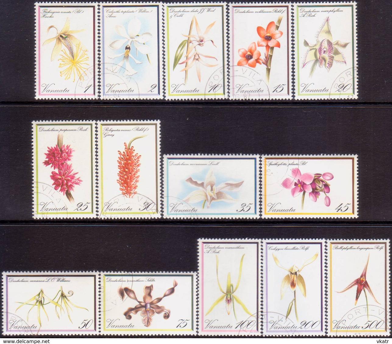 VANUATU 1982 SG #331-44 Compl.set Used Orchids - Vanuatu (1980-...)