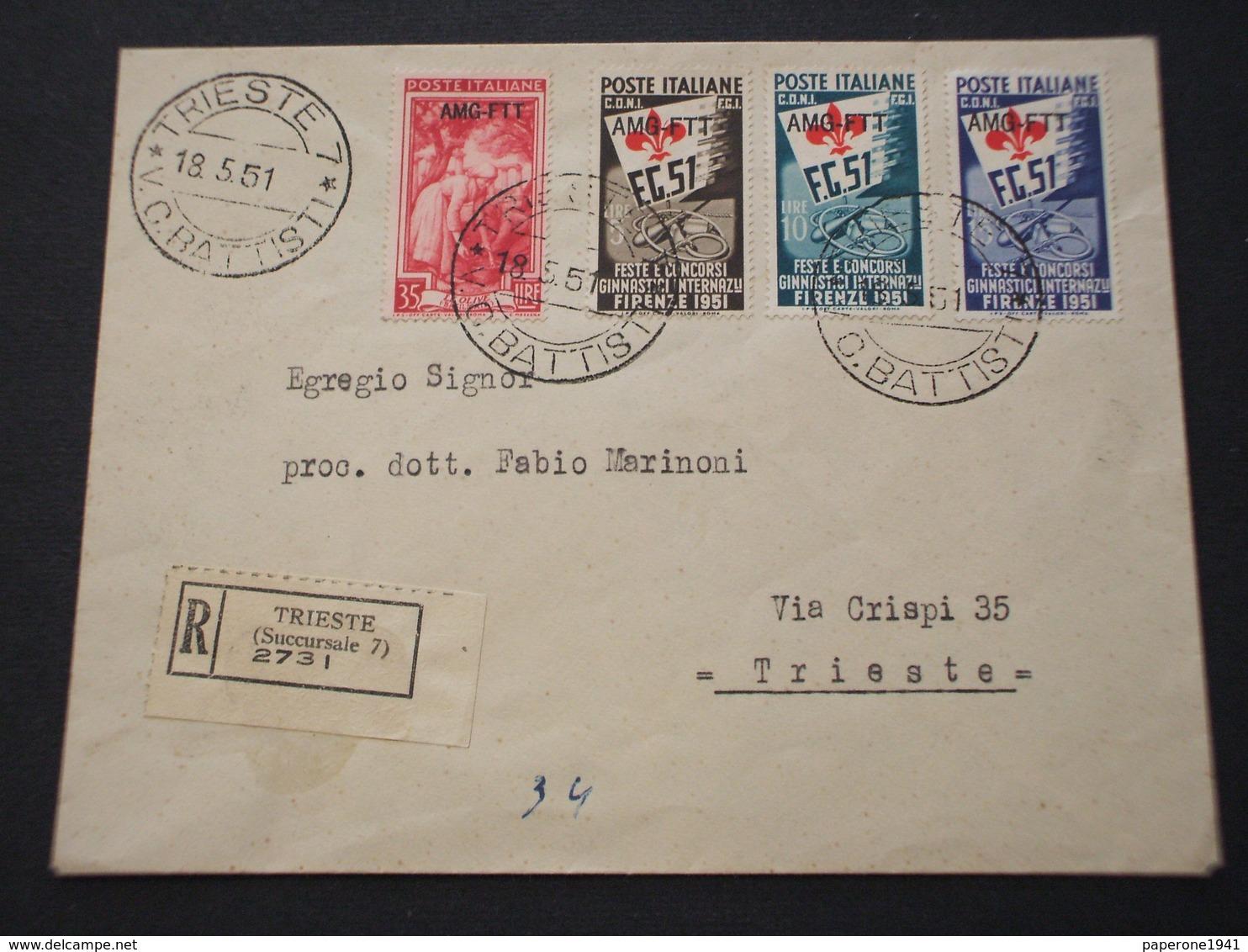 TRIESTE ZONA A- BUSTA RACCOMANDATA AFFRANCATA CON SERIE 1951 GINNICI + L. 35 LAVORO-IN TARIFFA(rara) - 7. Trieste