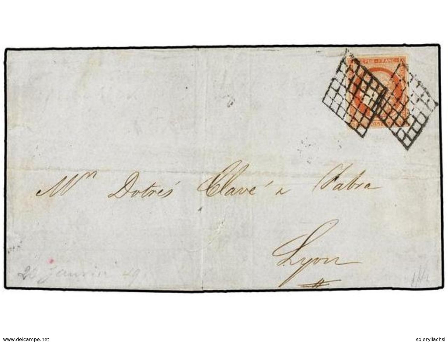 213 FRANCIA. Yv.7. 1849 (20 Janvier). PARIS à LYON. <B>1 Fr.</B> Vermillon Oblitéré <B>DOUBLE GRILLE</B>. Timbre Avec Qu - Stamps
