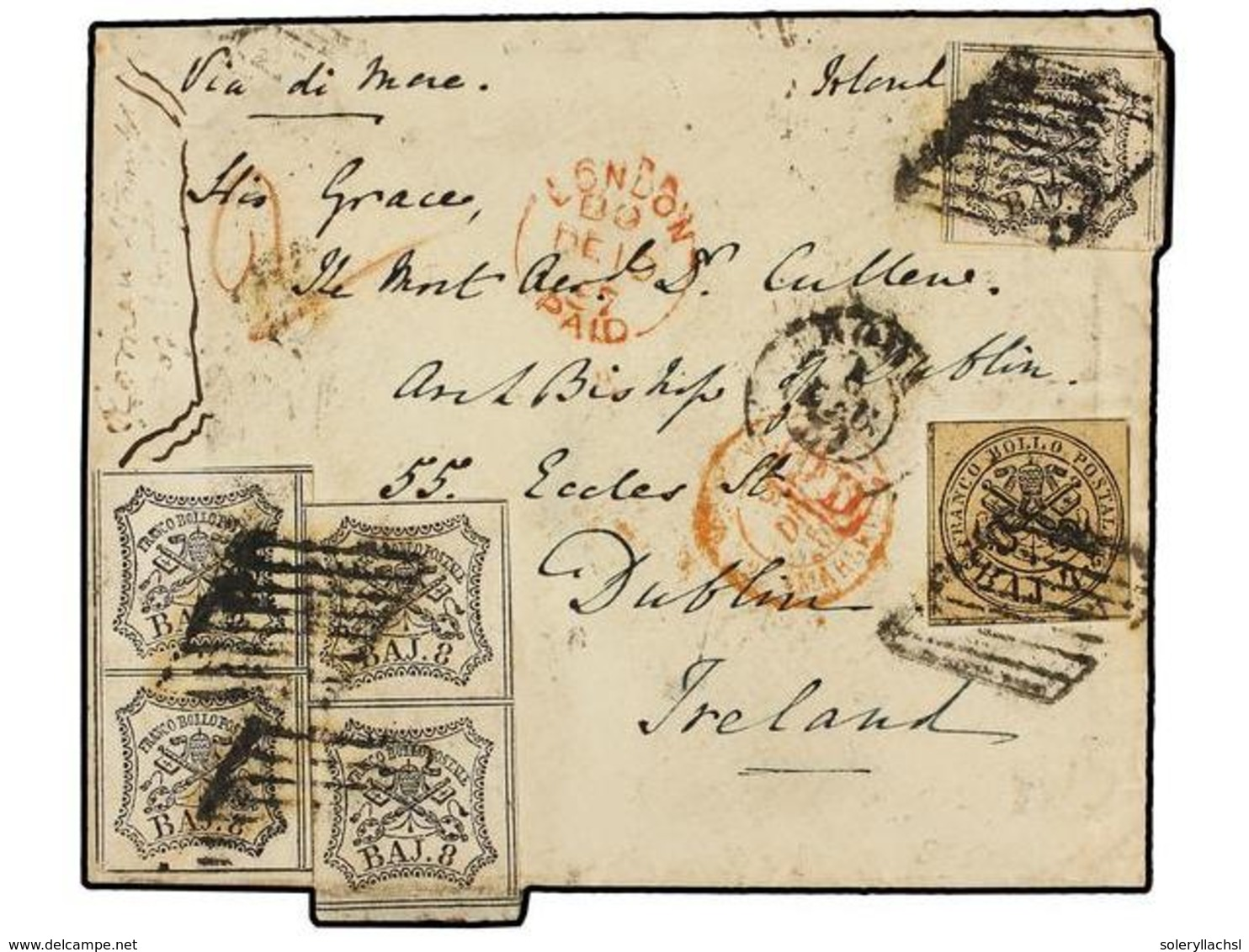 662 ITALIA ANTIGUOS ESTADOS: ESTADOS PONTIFICIOS. Sa.5, 9 (5). 1857. ROMA A DUBLÍN (Irlanda). <B>4 Baj.</B> Negro S. Ant - Stamps