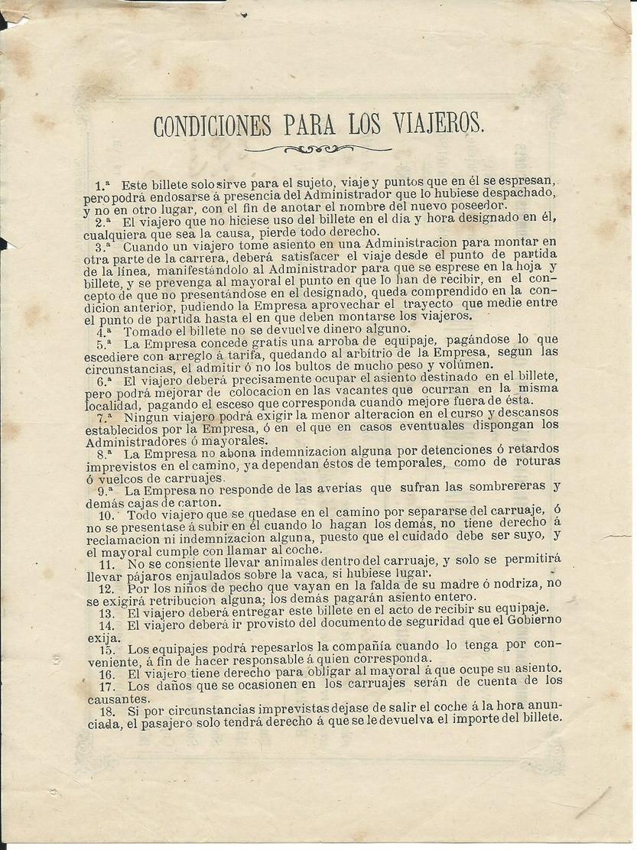 VALENCIA ESPAÑA 1883 MUY RARO BILLETE DE DILIGENCIA - Billetes De Transporte