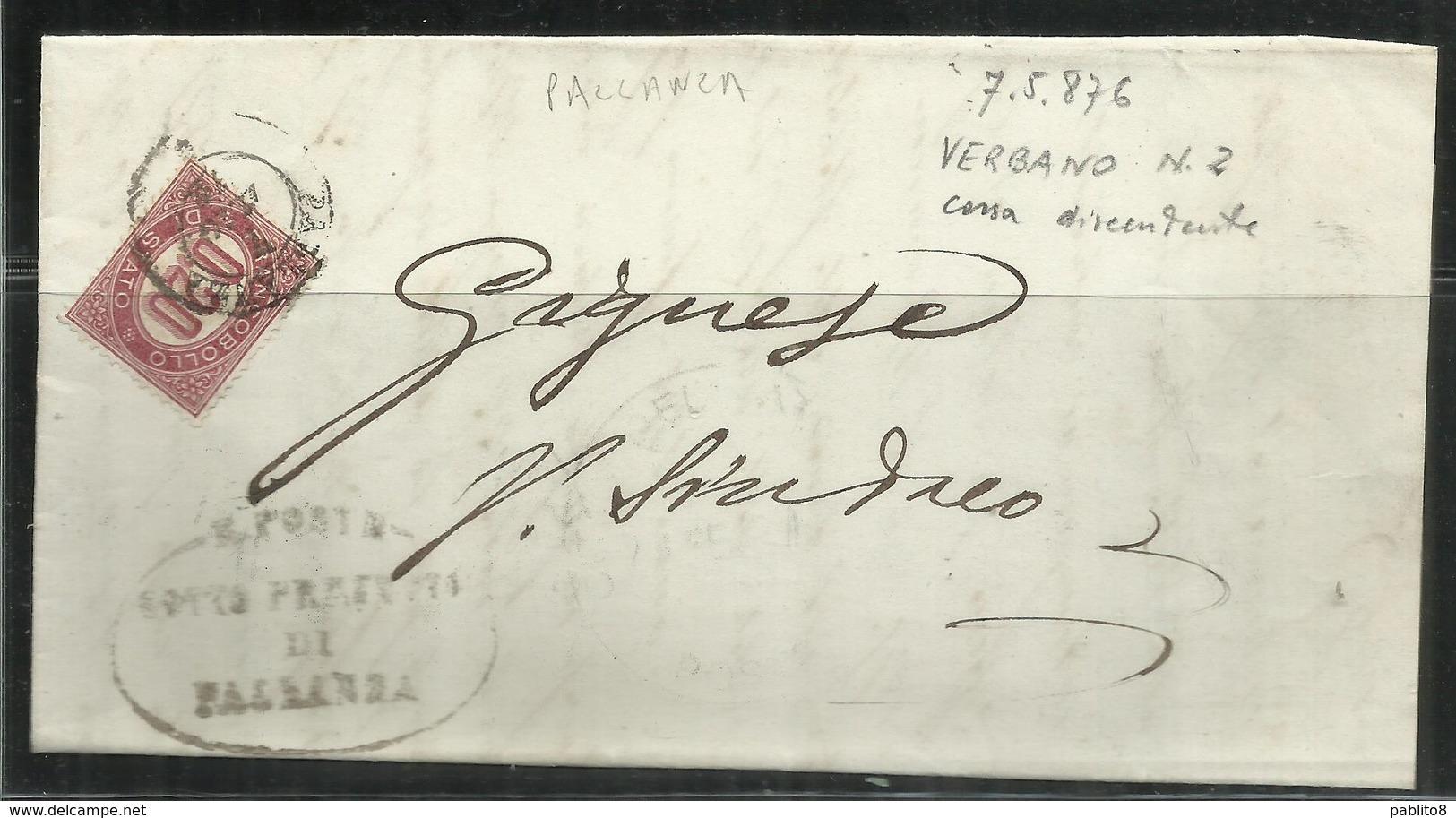 ITALIA REGNO ITALY KINGDOM PALLANZA 7 5 1976 SERVIZI VITTORIO EMANUELE II  CENTESIMI 20c (1875) USATO USED PIEGO LETTERA - 1861-78 Vittorio Emanuele II
