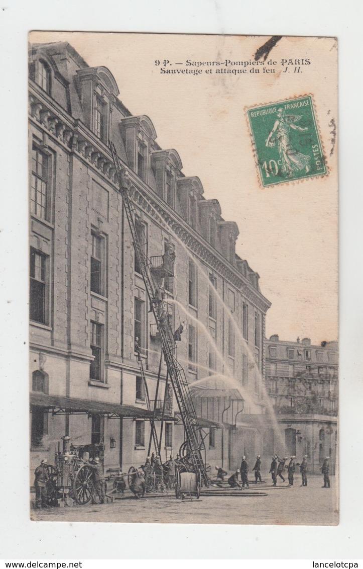 75 - PARIS / SAPEURS POMPIERS - SAUVETAGE ET ATTAQUE DU FEU - Autres